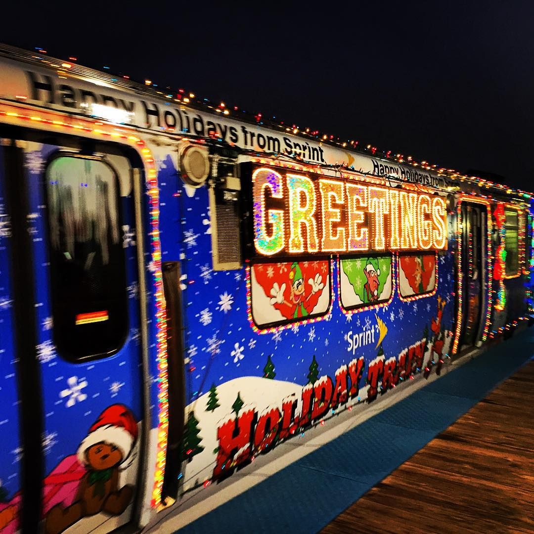 15 years in the chi and im finally on a christmas train thanks santa i totally needed this chicago cta christmas train brownline joy