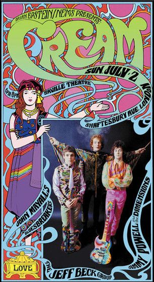 60s rock Cream, John Mayall and Jeff Beck Group concert poster.