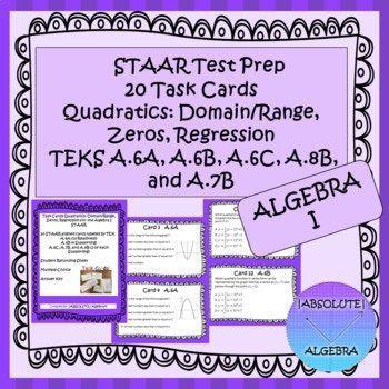 STAAR EOC Algebra 1 Task Cards A.6A,B,C, A.7B, and A.8B ...