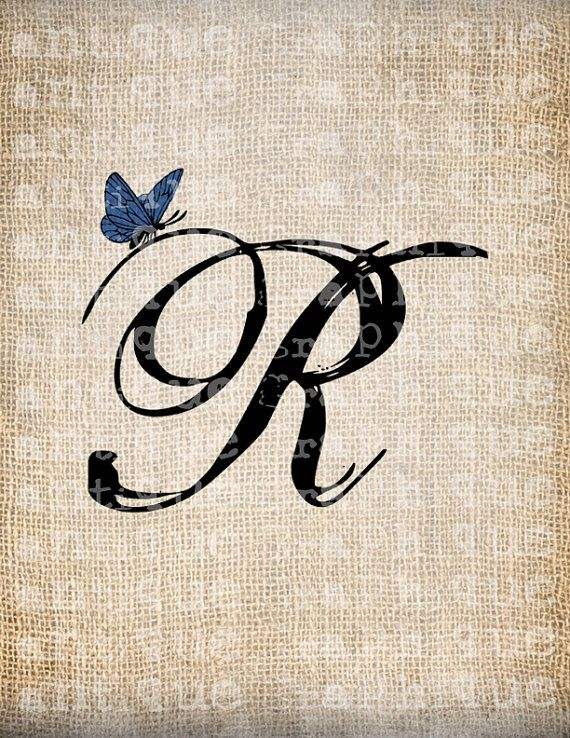 antique letter r script monogram with butterfly digital download for dictionary pages. Black Bedroom Furniture Sets. Home Design Ideas