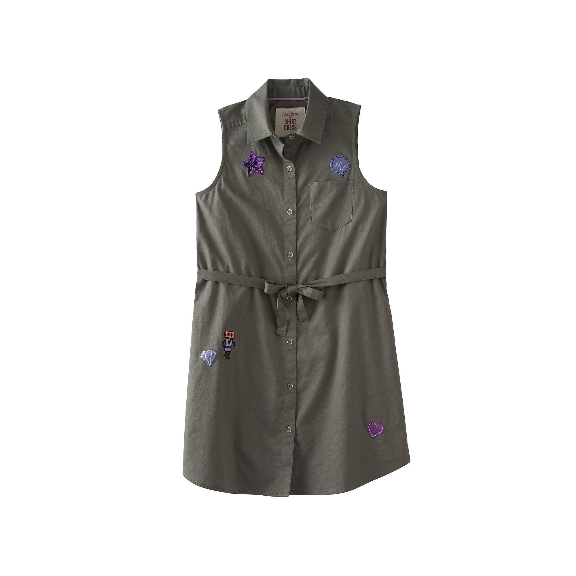 Girls u plus size soolive sleeveless patch applique shirt
