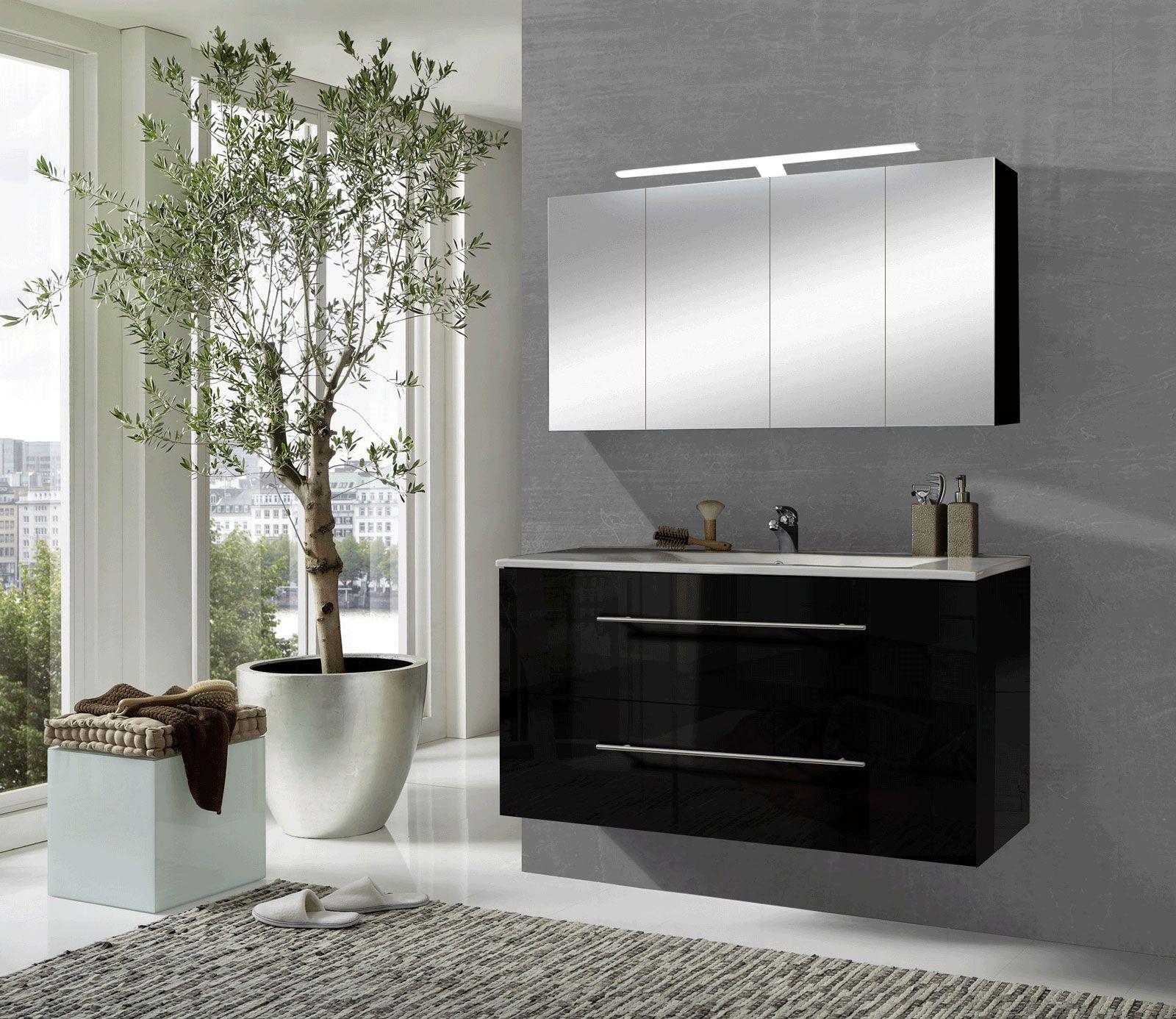 sam® 2tlg badezimmer spiegelschrank schwarz 120 cm rom