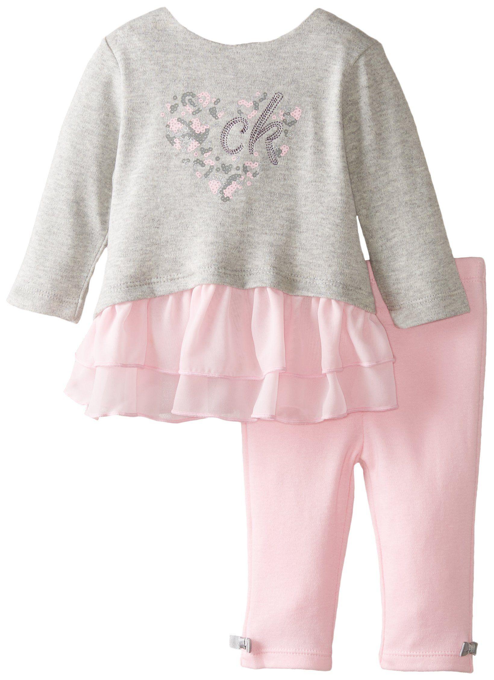 Amazon Calvin Klein Baby Girls Newborn Gray Tunic with Pink
