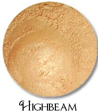 Highbeam- golden peach shimmer Highbeam looks like a ray of sunshine- a light, warm shimmery gold. It's super pretty- and great with Bling- it's a fabulous light warm weather combination.