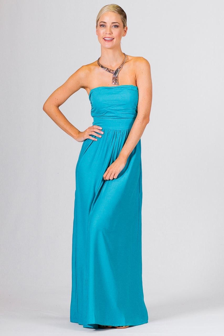 ba8da684297 Audrey Maxi Dress - Aqua - Paper Scissors Frock. One size fits standard  ladies 8-14. A full skirted strapless maxi dress. Shirring at the back