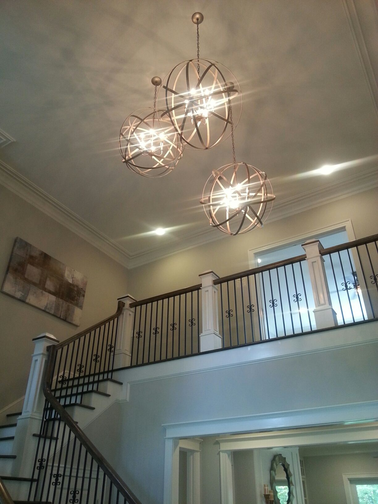 Three Capital Orbs In Winter Gold Foyer Light Installation Chandeliers Transitional