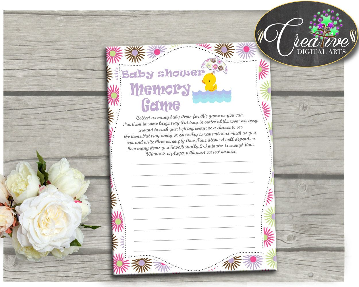 Yellow Rubber Ducky Baby Shower Purple Play What To Do MEMORY GAME,  Customizable Files,