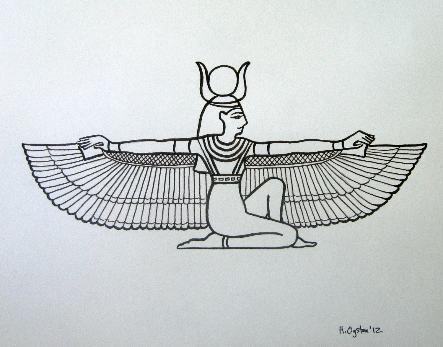 Pix For > Egyptian Goddess Drawing | Symbols | Pinterest ...