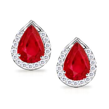 Angara Pear Ruby Stud Earrings in White Gold kosxlN