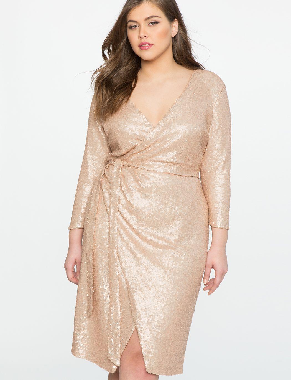 Studio Sequin Wrap Dress Women S Plus Size Dresses Eloquii Long Sleeve Sequin Dress Dresses Fashion [ 1370 x 1050 Pixel ]