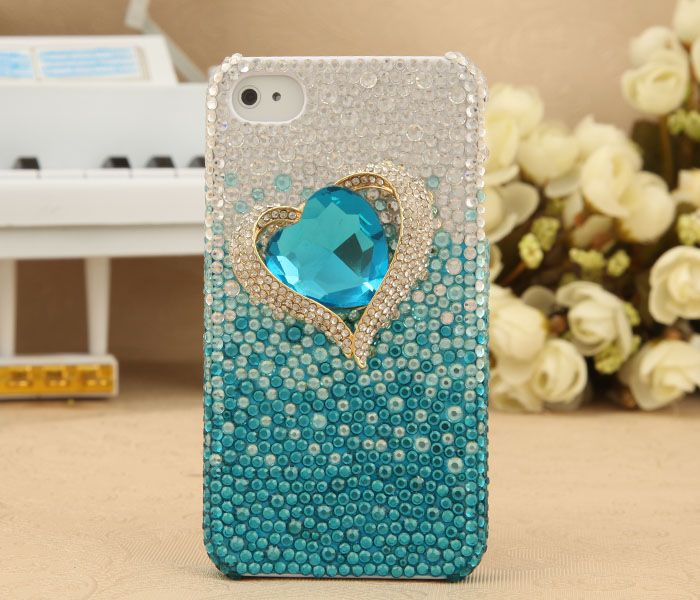 Apple iPhone 4S 4G 3GS Bling Shiny Blue Crystal Titanic Diamond Heart Back Case Cover Birthday Gift for Her - $44.00