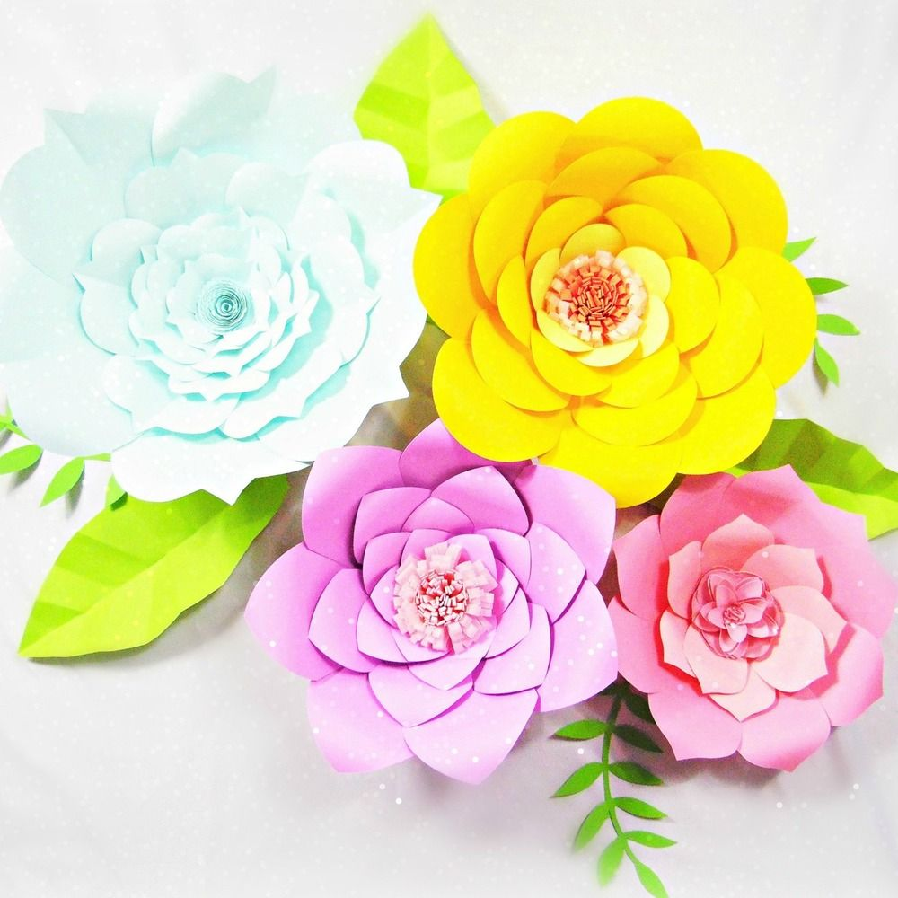 Set of 4 Giant Flower Templates   Giant flowers, Template and Easy ...