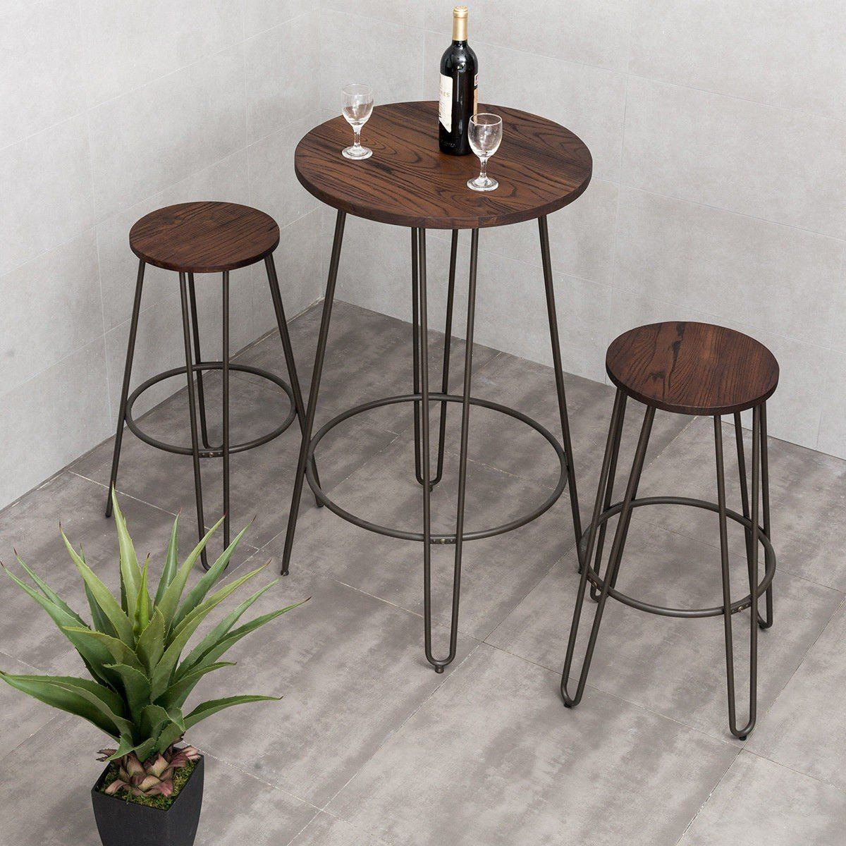 3 Pcs Wood Round Bar Table Bistro Stool Set Bar Table And Stools Round Bar Table Bar Table Sets
