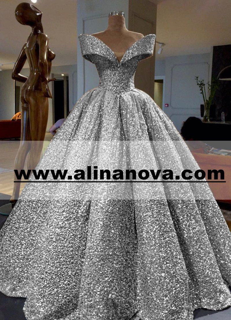 ff26b6b2dcf Bling Bling Off The Shoulder Ball Gown Wedding Dress With Sequins And  Crystal Beads