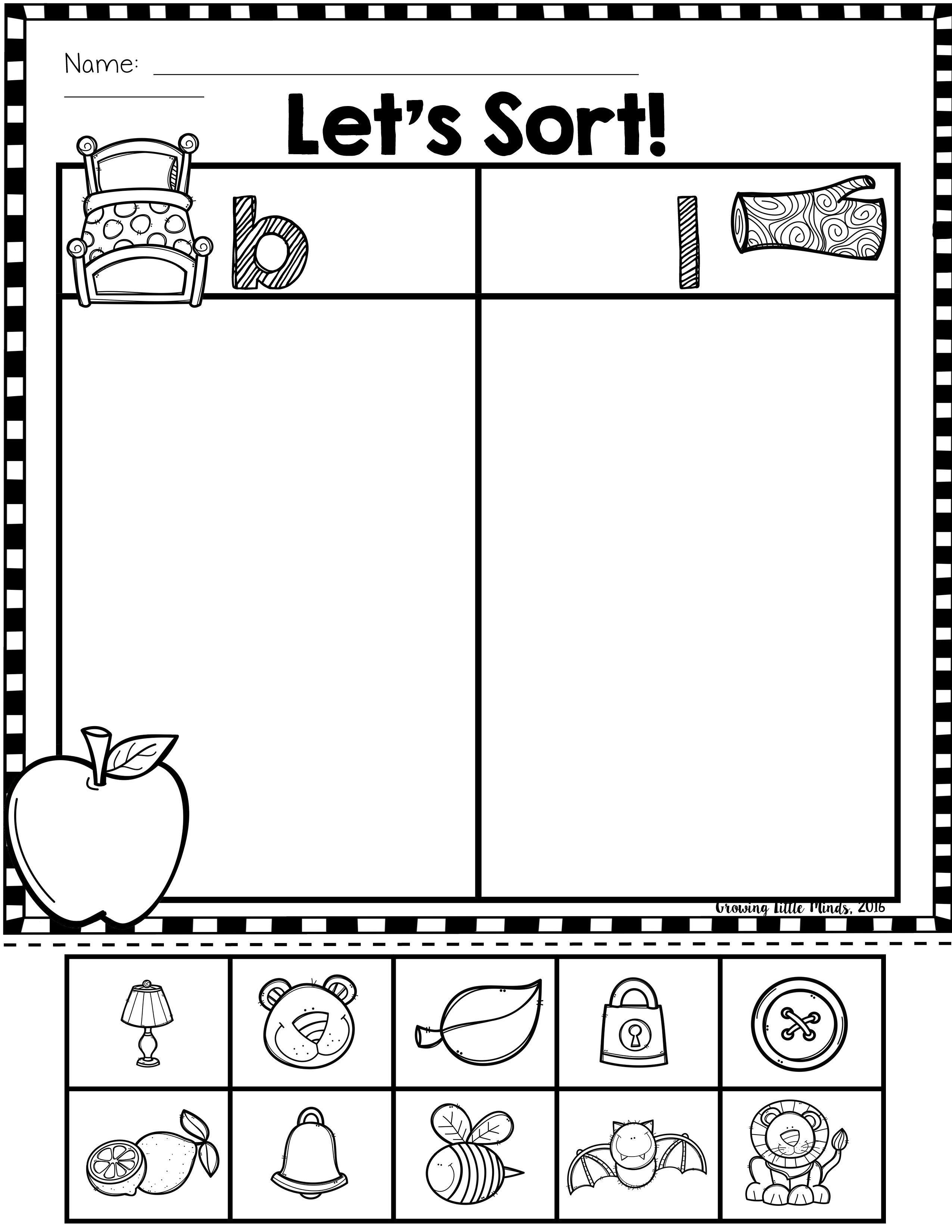 Beginning Sound Phoneme Isolation Sorts Teaching Sound Preschool Reading Creative Teaching [ 3300 x 2550 Pixel ]