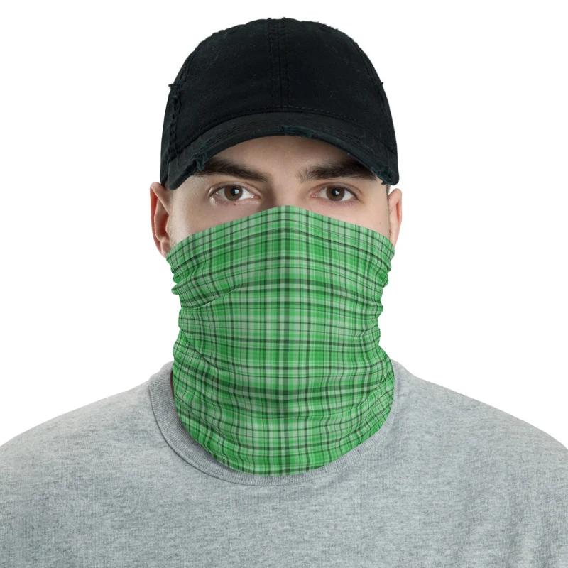 Neck Warmer Tube Face Mask Bandana Scarf Shield Light Green With Flower Pattern