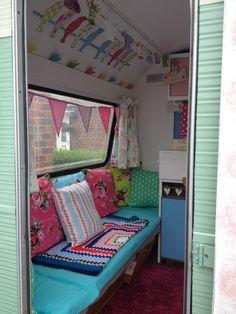 Pictures On The Wall Yarn Diy Vintage Caravan Interiors Caravan Interior Caravan Decor