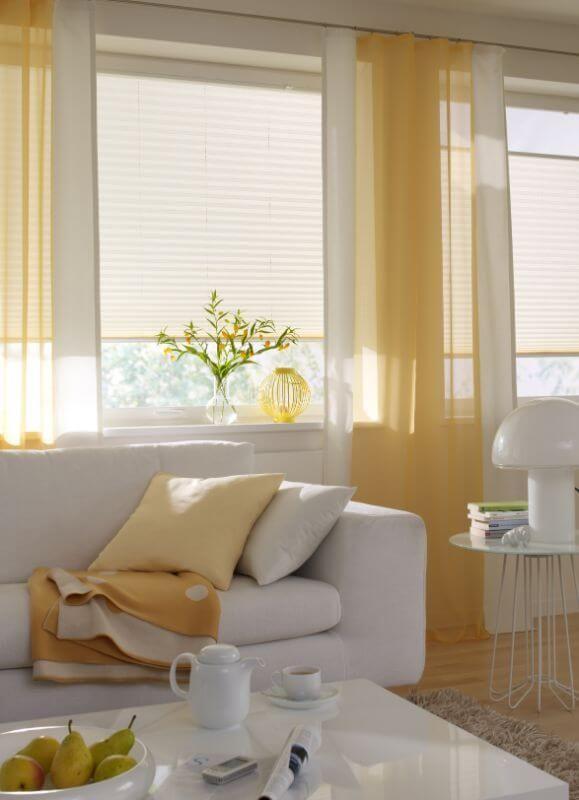 wohnzimmer gardine sonnig gelb ❤ Vielfältige Plissees - Raffrollo Für Wohnzimmer