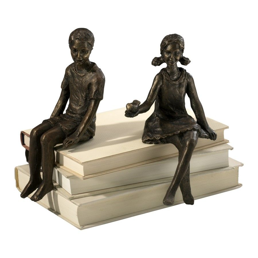 Cyan Designs Boy Shelf Figurine in Oiled Bronze  03041 is part of Classic Home Accessories Living Rooms - Features  Iron construction Boy shelf figurine  Oiled bronze finish