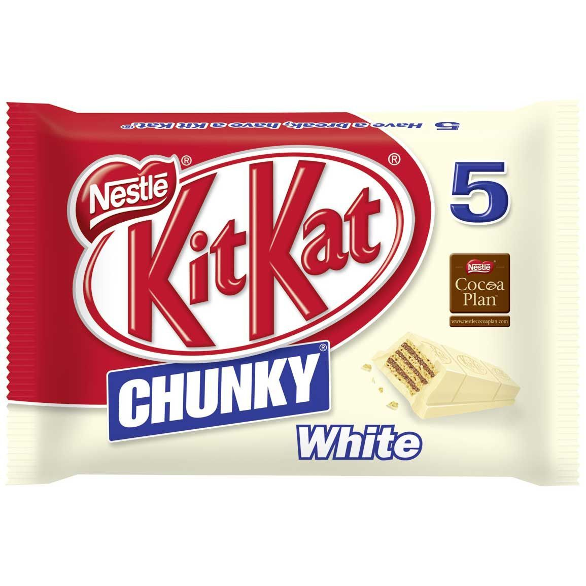 in USA- KitKat Chunky WHITE Chocolate Candy Bar- Pack of 5