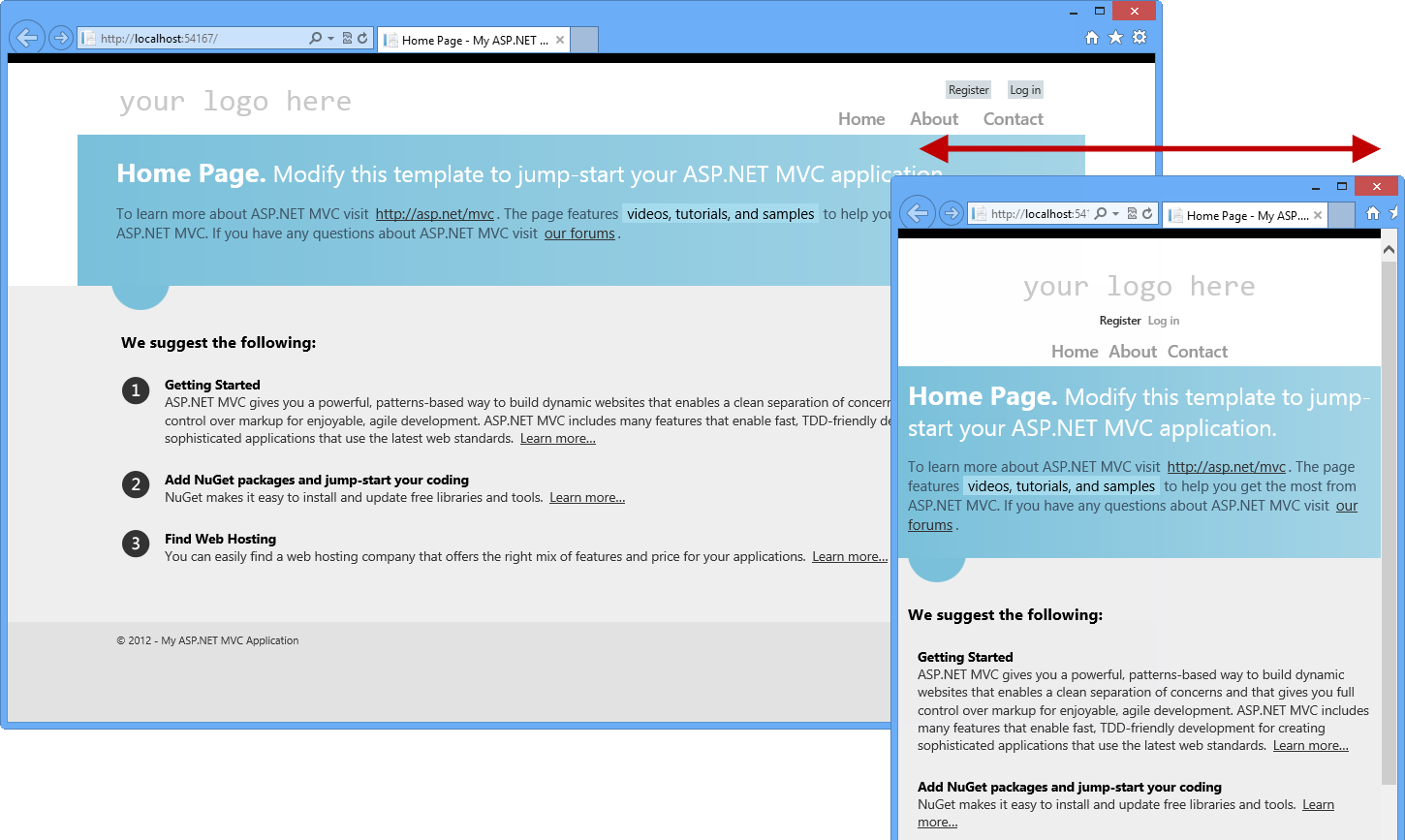 Asp Mvc 4 Project Template In Different Browser Sizes C