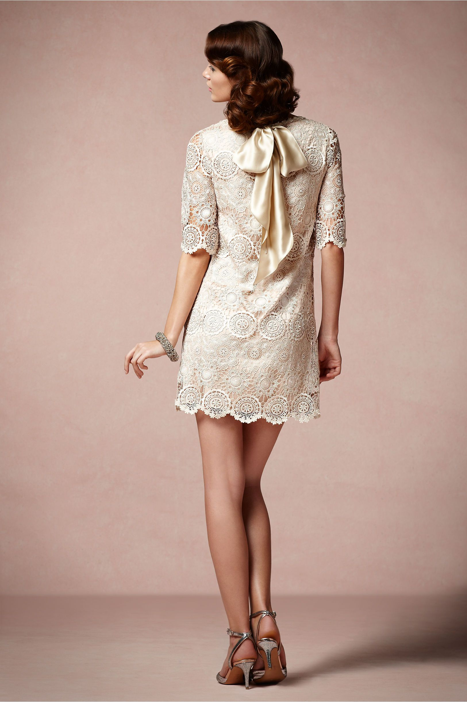 Champagne colored wedding dress  Agata Swing Dress from BHLDN love the lacelove the champagne
