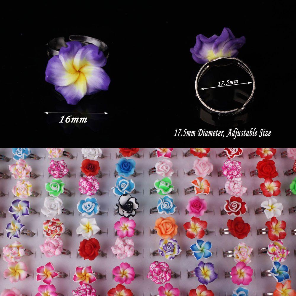 도매 20 개 많은 믹스 컬러 꽃 아기 아이 소녀 파티 폴리머 클레이 손가락 반지 무료 배송