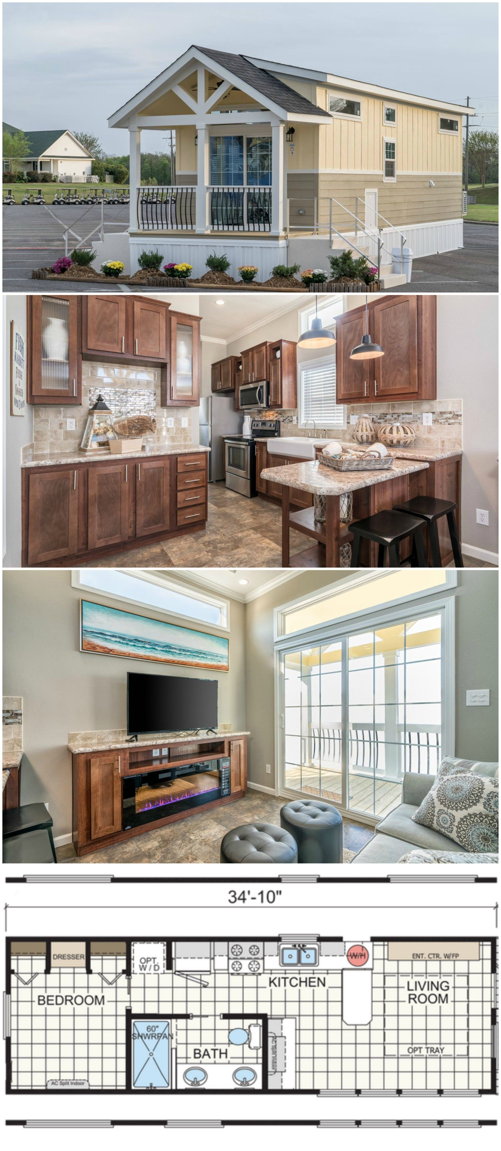 This park model home is a 399-square-foot one bedroom and one bathroom tiny home dream. The kitchen has full-size appliances and a farmhouse sink. The well-appointed living room features a beautiful tray ceiling and plenty of windows for an abundance of natural light. Pin, share and comment to let us know what you think! #tinyhomes