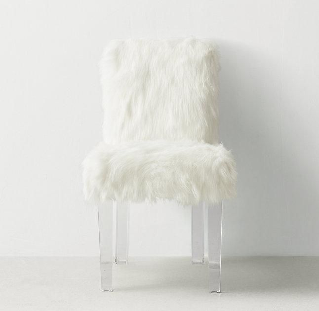 Outstanding White Faux Fur Acrylic Legs Desk Chair Leather Chaise Machost Co Dining Chair Design Ideas Machostcouk