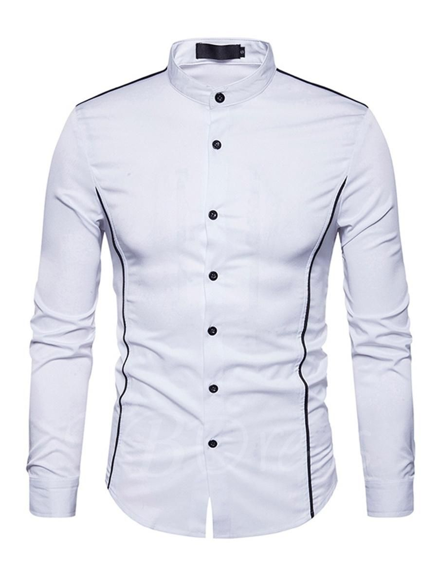 Stand Collar Single Breasted Color Block Slim Fit Casual Mens Shirt