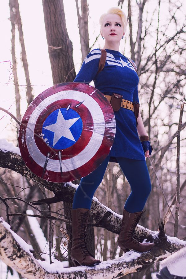 Cap cosplay based on his costume from The Winter Soldier. The idea of a  dress is neat... and the boots are perfect.  D 98a146ad3486