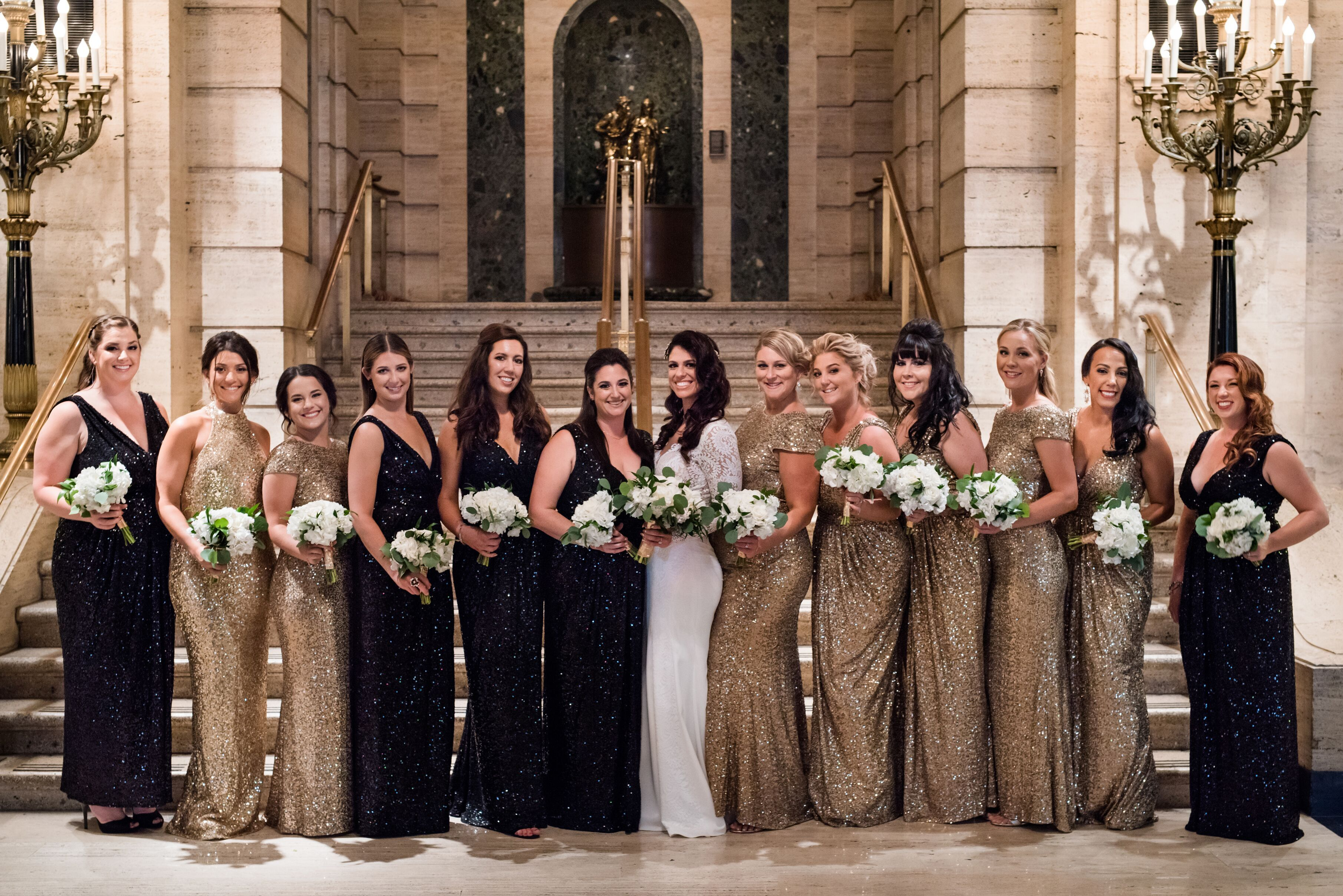 Roaring 20 S Wedding Black Gold Bridesmaid Dresses At Palmer House In Chicago Ill Roaring 20s Wedding Roaring 20s Bridesmaid Dresses Roaring 20s Bridesmaids