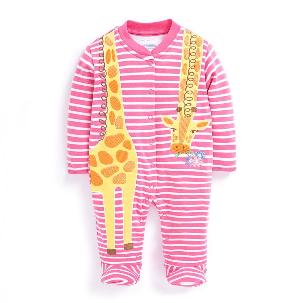 21f6d12bd094 Giraffe Applique Baby Footie