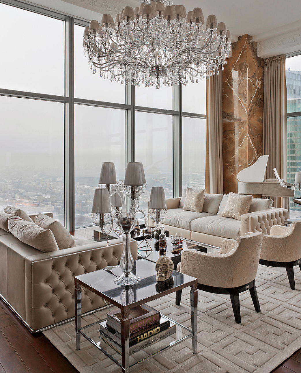 Gorgeous Luxury Glam Style Beige Living Room Decor With Beige Velvet Tufted Sofas A Contemporary Decor Living Room Apartment Interior Design Beige Living Rooms