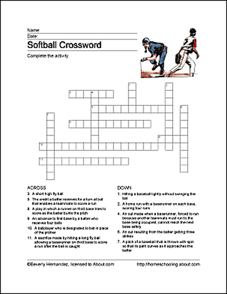 Softball Word Search Vocabulary Crossword And More Softball Crossword Sports Crossword