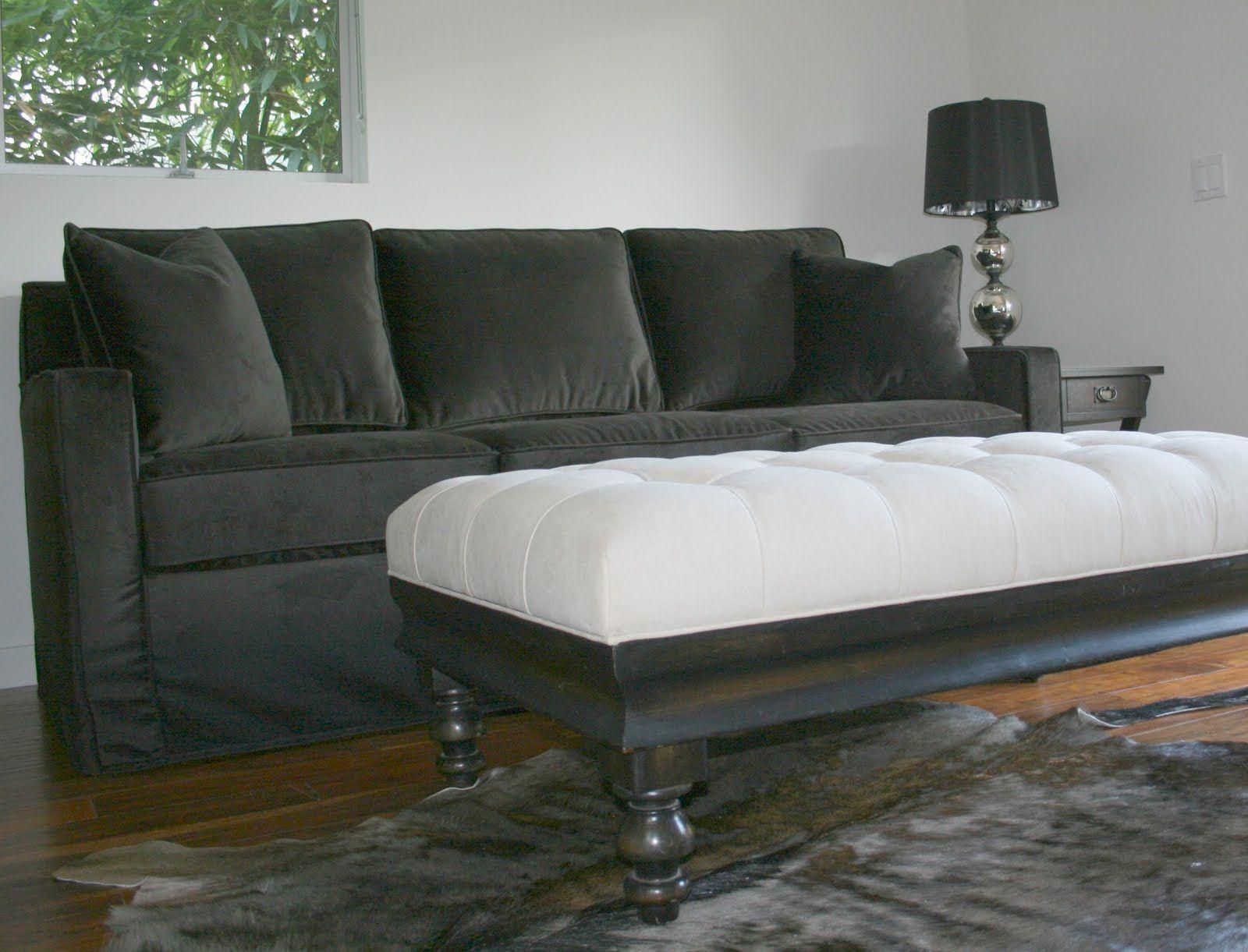 dark grey velvet slipcover living
