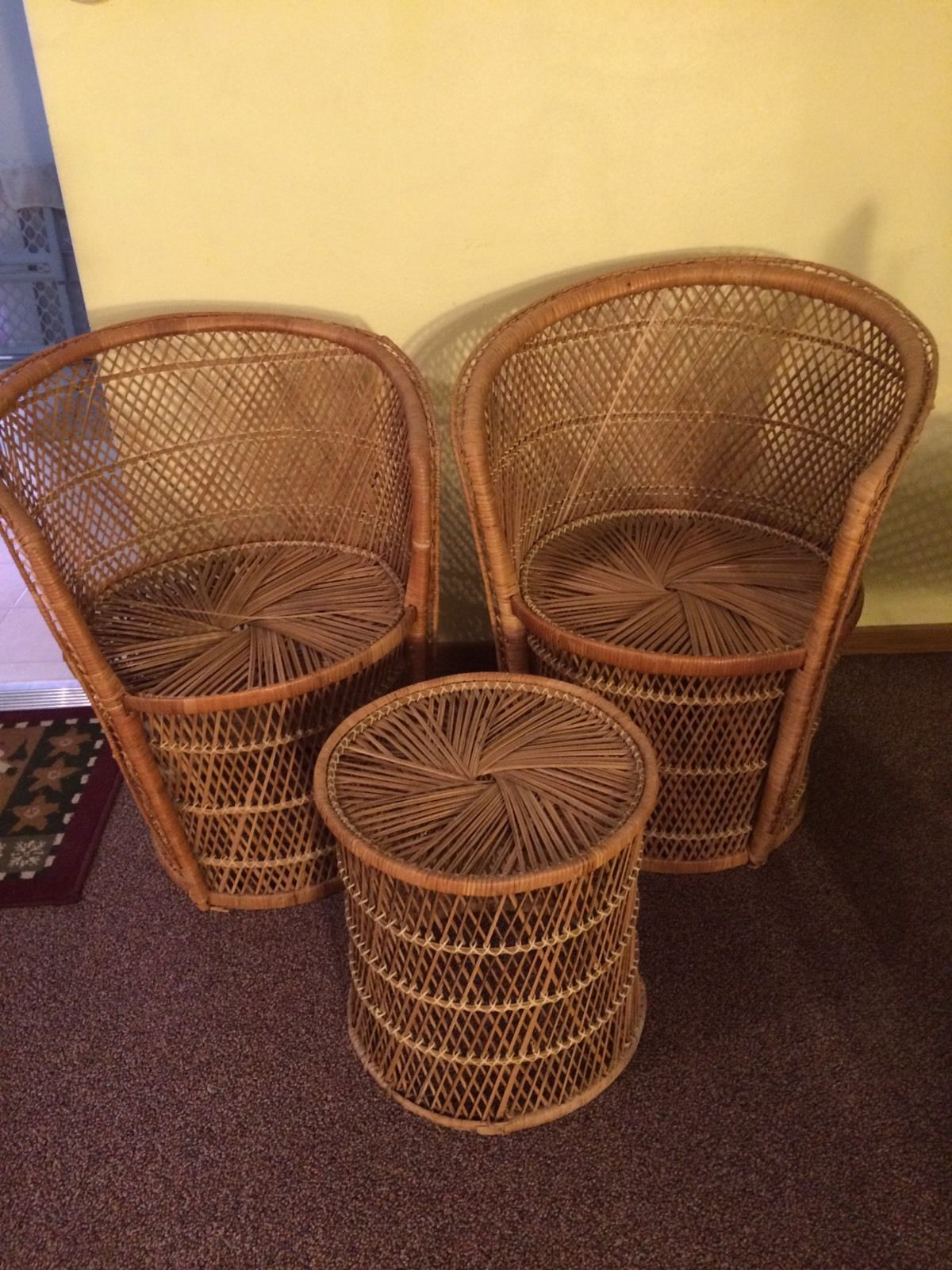 Wicker Accent Chairs.Vintage Peacock Wicker Rattan Fan 70 S Accent Chair S Table Price