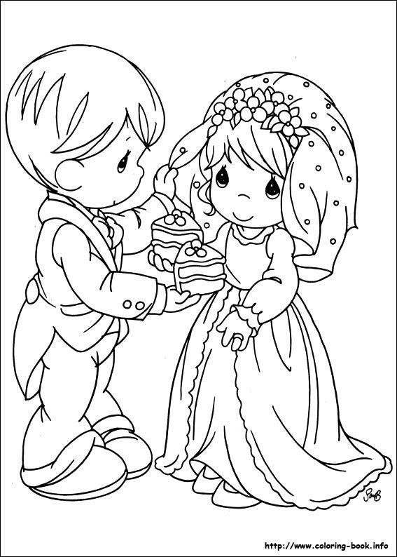 Coloring book precious moments coloring picture wedding for Precious moments wedding coloring pages