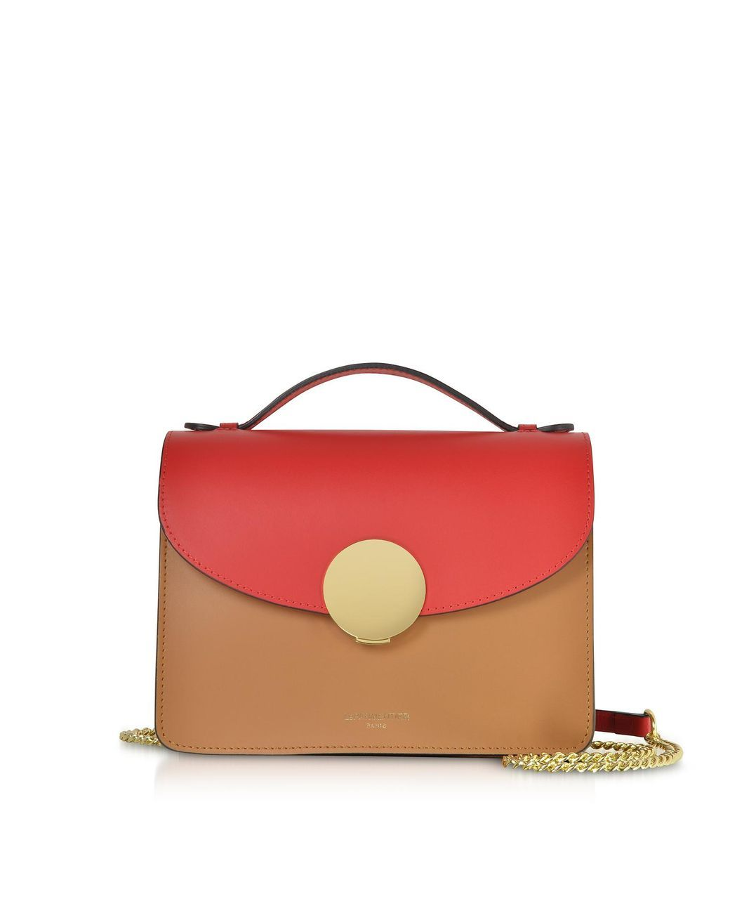 eecb3587f Le Parmentier - Red New Ondina Color Block Flap Top Leather Satchel Bag -  Lyst