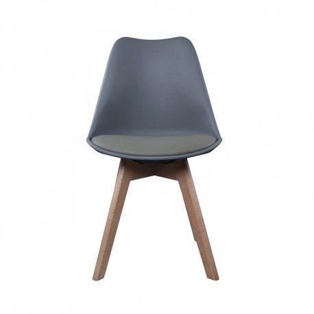 Lot De 2 Chaises Scandinaves Grises Pieds En Bois Design Gris Chaise Scandinave Grise Chaise Design Chaise