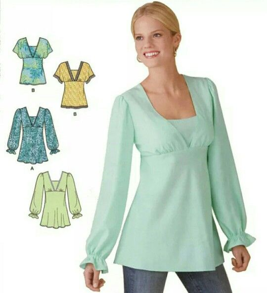Interesting Simplicity Pattern (E2051) - Blouse with Empire Waist ...