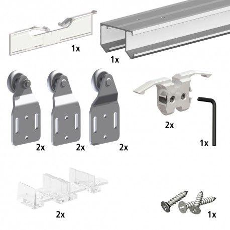 Système coulissant SLID\u0027UP 110 pour 2 ou 3 portes de placard - rail