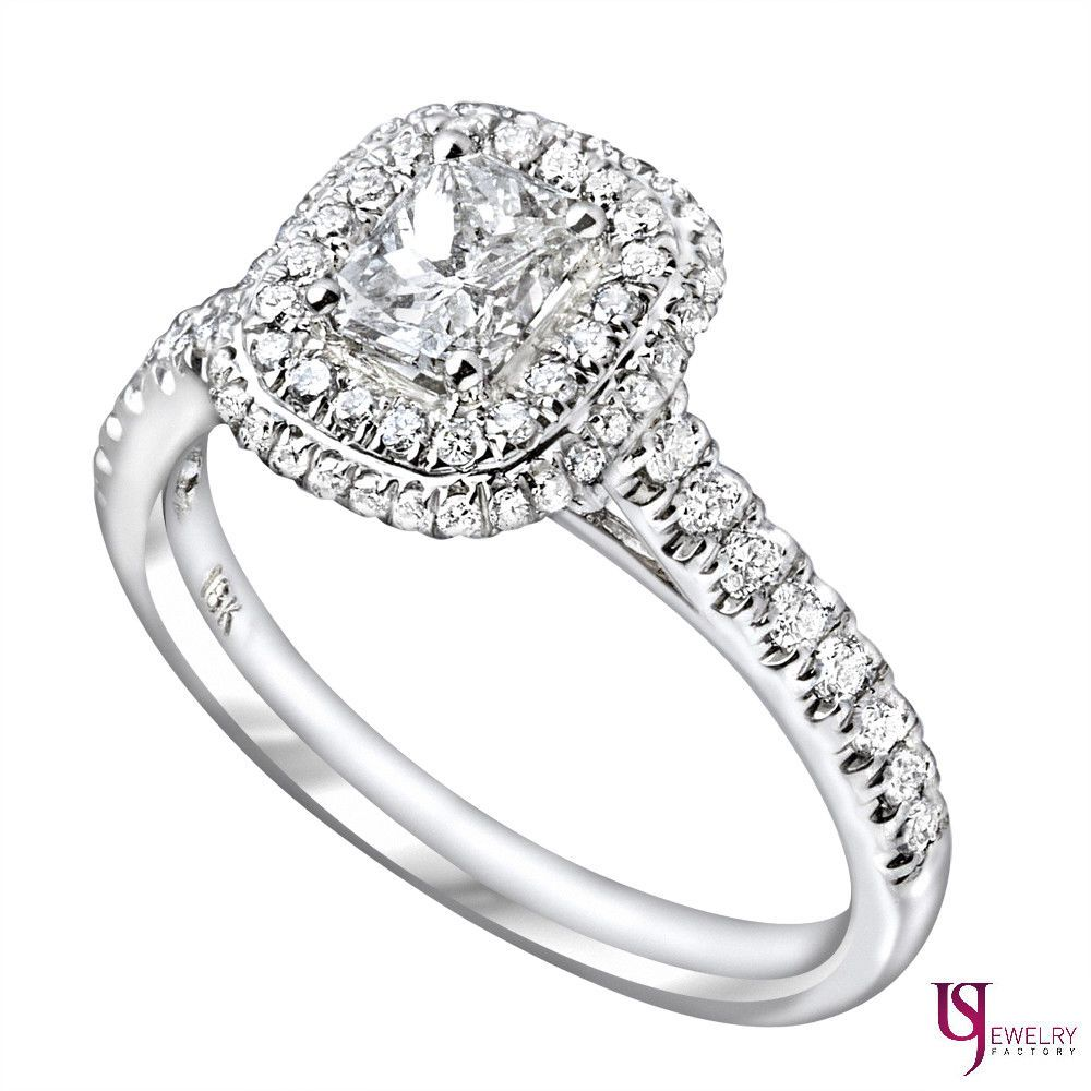 carat radiant cut diamond engagement double halo set ring k