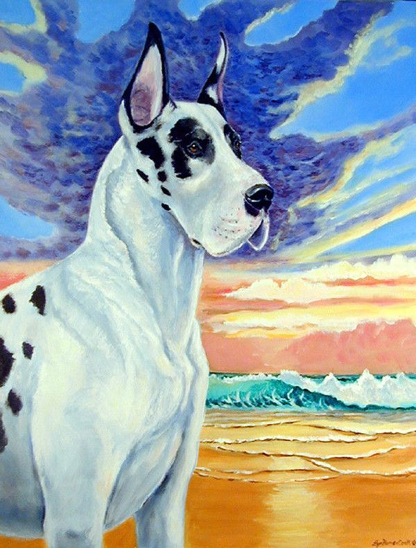 Great Dane Harlequin Dane At Sunset 2 Sided Polyester 3 4 H X 2 4