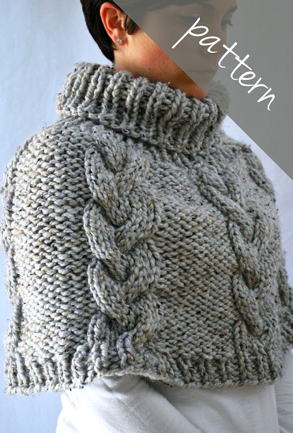 Knitting PATTERN - Braided Cable Poncho Cape - Chunky Cape - Easy ...