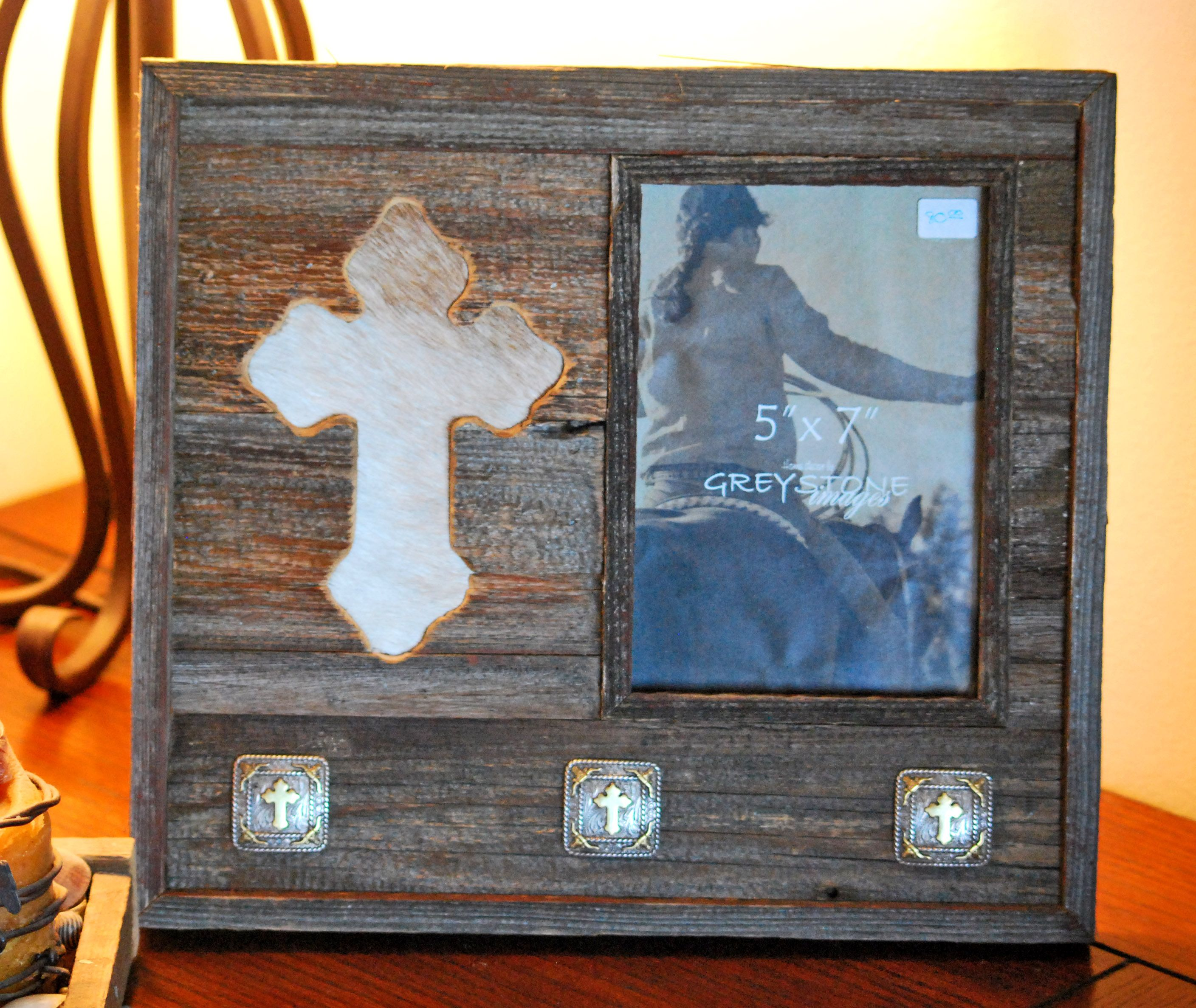 Barnwood Frame With Inlaid Cowhide Cross And Conchos Holds A 5x7 Picture This One Woodworkingwoodworking Planswood
