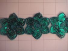 """1 3/4"""" Teal Sequins Flower Applique Trim By the Yard Sequin"""
