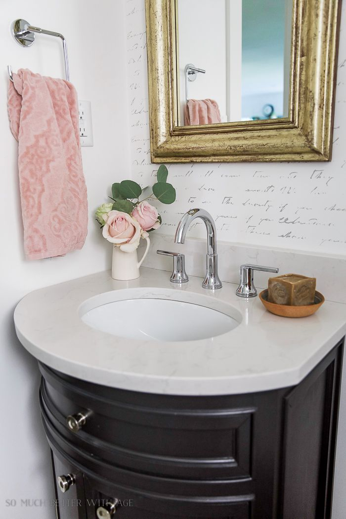 Black White French Powder Room Bathroom Makeover So Much Better With Age