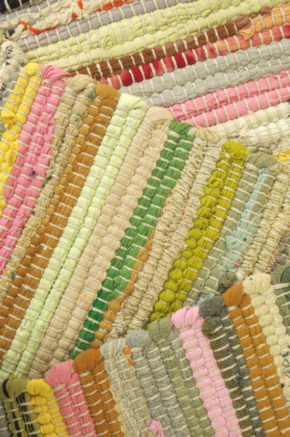 Fab! hand made rag rugs, in a wonderful combination of random multi colours.  Size approx:- 60 x 90cm. Material:- 100% recycled fabric.  Made