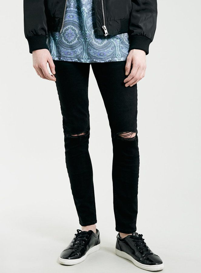 Black Ripped Knee Stretch Skinny Fit Jeans | Knee stretches and ...